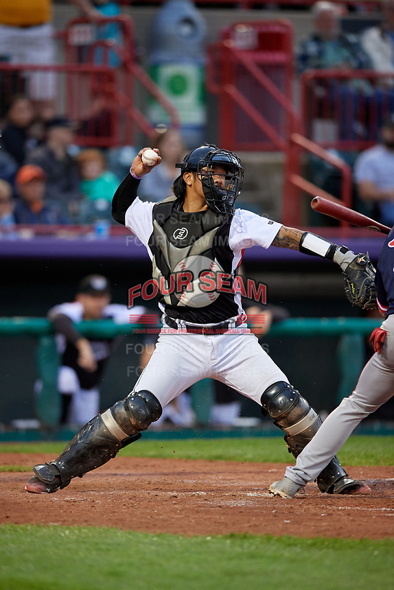 Erie SeaWolves catcher Chace Numata (25) throws down to second base during an Eastern League game against the Portland Sea Dogs on June 17, 2019 at UPMC Park in Erie, Pennsylvania.  Portland defeated Erie 6-3.  (Mike Janes/Four Seam Images)