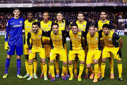 07.01.2014 Valencia, Spain. Ateltico de Madrid squad poses prior to the Copa del Rey Game between Valencia and Atletico de Madrid at Mestalla Stadium, Valencia