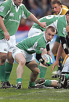 Irish scrum half Kris Greene get the ball away during the Division A U19 World Championship clash against Australia at Ravenhill.