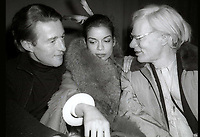 Halston Bianca Jagger Andy Warhol at Studio54  1978<br /> Photo By Adam Scull/PHOTOlink.net