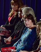 Rape victim Kathy Shelton, right, sits with Bill Clinton sexual harassment accusers, from left, Paula Jones, Kathleen Willey, and Juanita Broaddrick prior to former United States Secretary of State Hillary Clinton, the Democratic Party nominee for President of the US and businessman Donald J. Trump, the Republican Party candidate for President of the US, appearing in the second of three presidential general election debates at Washington University in St. Louis, Missouri on Sunday, October 8, 2016.<br />