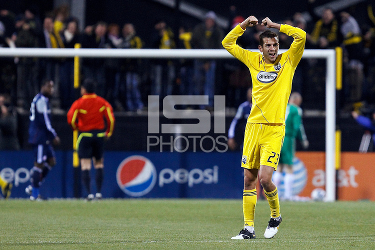 8 MAY 2010:  Eric Brunner of the Columbus Crew (23) reacts after theCrew score a go ahead goal late in the second half during MLS soccer game between New England Revolution vs Columbus Crew at Crew Stadium in Columbus, Ohio on May 8, 2010.