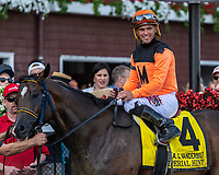 Imperial Hint (no. 4) wins the Alfred G. Vanderbilt Handicap July 28 at Saratoga Race Course, Saratoga Springs, NY.    Ridden by Javier Castellano and trained by Luis Carvajal, Imperial Hint finished 3 3/4 lengths in front of Warrior's Club (no. 3) in the 6 furlong race.  (ROBERT SIMMONS/Eclipse Sportswire)