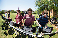 The Mississippi State Steel Drum Band performs on the Drill Field, adding music to a sunny day on the MSU campus. Pictured in the foreground are, from left to right, MSU students Sarah Hartung, a senior animal and dairy sciences major from Laceys Spring, Alabama, Lyndsay Reed, a senior criminology major from Redwood, and Jimmy Bailey, a senior software engineering major from Pearl.<br />