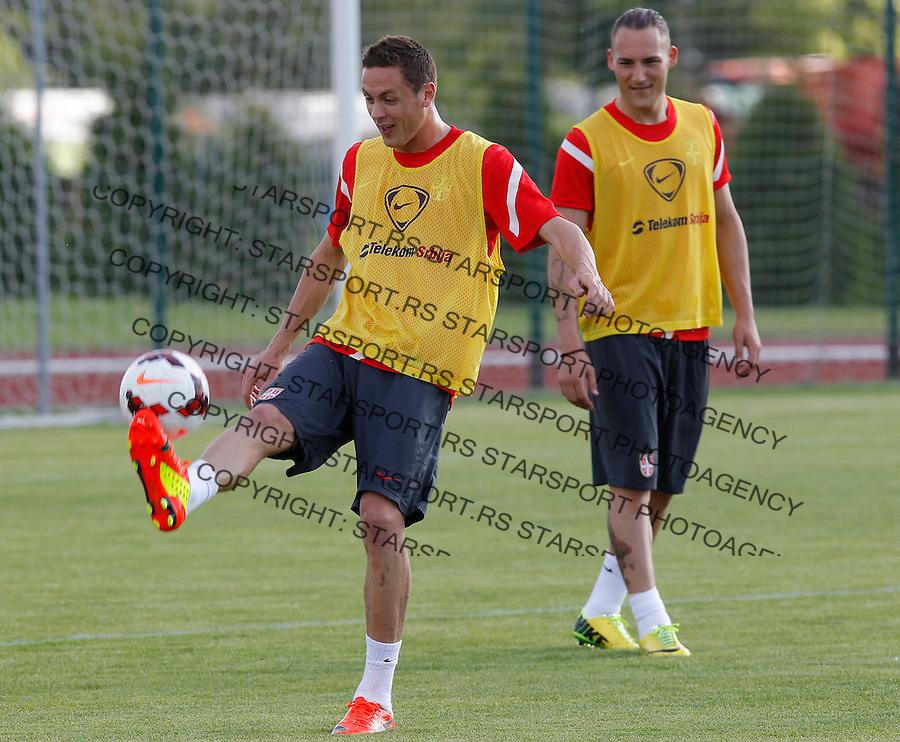 Fudbal Soccer<br /> Trening<br /> Nemanja Matic (L) and Nemanja Gudelj<br /> Star Pazova, 05.20.2014.<br /> foto: Srdjan Stevanovic/Starsportphoto &copy;
