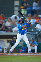 Zach Davis (24) of the Myrtle Beach Pelicans at bat against the Winston-Salem Dash at TicketReturn.com Field on May 16, 2019 in Myrtle Beach, South Carolina. The Dash defeated the Pelicans 6-0. (Brian Westerholt/Four Seam Images)