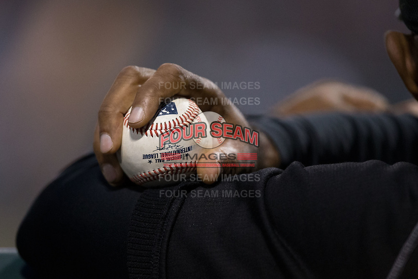 Chicago White Sox coach Harold Baines holds an International League baseball as he watches the action from the dugout during the exhibition game against the Charlotte Knights at BB&T Ballpark on April 3, 2015 in Charlotte, North Carolina.  (Brian Westerholt/Four Seam Images)
