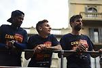 League Santander 2017/2018.<br /> Rua de Campions FC Barcelona.<br /> Dembele, Lucas Digne &amp; Gerard Pique.