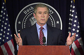 United States President-elect George W. Bush speaks to the press in Washington, DC on January 11, 2001.<br /> Credit: Ron Sachs / CNP