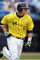 March 21, 2010:  Third Baseman John Lorenz (6) of the Michigan Wolverines runs the bases during a game at Tradition Field in St. Lucie, FL.  Photo By Mike Janes/Four Seam Images