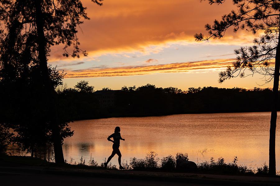 September 9, 2018; Sunset over St. Mary's Lake (Photo by Matt Cashore/University of Notre Dame)