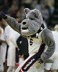 Gonzaga mascot, Spike,  points to fans during their game against North Dakota State  during the 2015 NCAA Division I Men's Basketball Championship's March 20, 2015 at the Key Arena in Seattle, Washington.  ©2015. Jim Bryant Photo. ALL RIGHTS RESERVED.