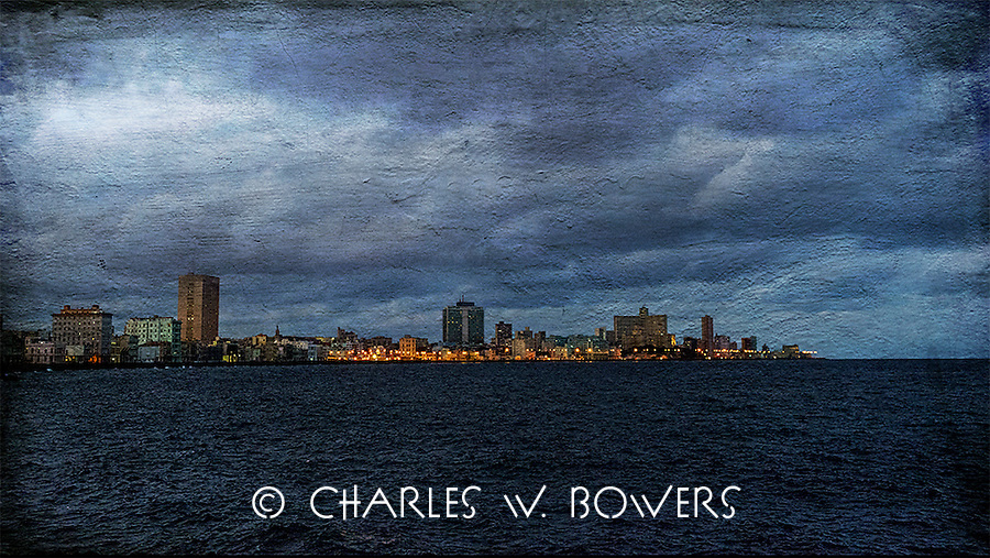 Havana harbor and the Malecon<br /> <br /> -Limited Edition of 50 prints.