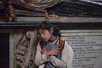 Safina beside Bishop Hackett's Tomb, Lichfield Cathedral;