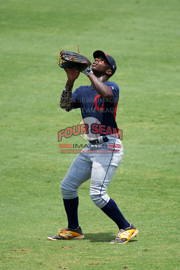 EP Reese (1) of North Davidson High School in Lexington, North Carolina playing for the Cleveland Indians scout team during the East Coast Pro Showcase on July 30, 2015 at George M. Steinbrenner Field in Tampa, Florida.  (Mike Janes/Four Seam Images)
