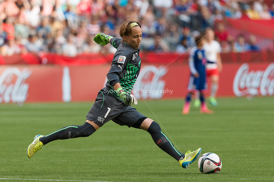 June 8, 2015: Gaelle THALMANN of Switzerland kicks the ball during a Group C match at the FIFA Women's World Cup Canada 2015 between Japan and Switzerland at BC Place Stadium on 8 June 2015 in Vancouver, Canada. Sydney Low/AsteriskImages