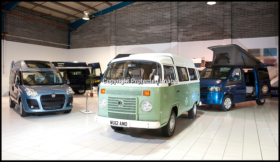 BNPS.co.uk (01202 558833)<br /> Pic: LauraJones/BNPS<br /> <br /> The showroom at Danbury MotorCaravans.<br /> <br /> The last ever delivery of brand new Volkswagen campervans has arrived in Britain marking the end of an era for the iconic 'hippy bus'.<br /> <br /> Ninety nine of the final batch of vans rolled off the production line and onto a container ship bound for British shores after manufacture ceased for good in Brazil in December.<br /> <br /> And though the consignment has only just arrived, almost all of the vans have already been snapped up by eager buyers happy to fork out the £35,000 starting price.<br /> <br /> They are the last brand new campers in all of Europe.