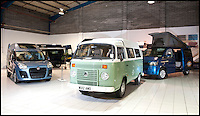 BNPS.co.uk (01202 558833)<br /> Pic: LauraJones/BNPS<br /> <br /> The showroom at Danbury MotorCaravans.<br /> <br /> The last ever delivery of brand new Volkswagen campervans has arrived in Britain marking the end of an era for the iconic 'hippy bus'.<br /> <br /> Ninety nine of the final batch of vans rolled off the production line and onto a container ship bound for British shores after manufacture ceased for good in Brazil in December.<br /> <br /> And though the consignment has only just arrived, almost all of the vans have already been snapped up by eager buyers happy to fork out the &pound;35,000 starting price.<br /> <br /> They are the last brand new campers in all of Europe.