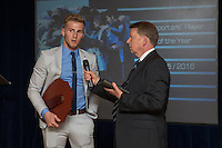 Jason McCarthy (left) is interviewd by Bill Turnbull after receiving the Supporter's Player of the Year during the Wycombe Wanderers End of Season 2016 Awards Dinner at Adams Park, High Wycombe, England on 1 May 2016. Photo by David Horn