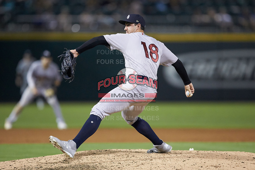 Scranton/Wilkes-Barre RailRiders relief pitcher J.P. Feyereisen (18) in action against the Charlotte Knights at BB&T BallPark on August 14, 2019 in Charlotte, North Carolina. The Knights defeated the RailRiders 13-12 in ten innings. (Brian Westerholt/Four Seam Images)
