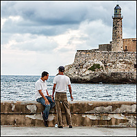 Faces Of Cuba - friends meet every morning at the waterfront.<br />