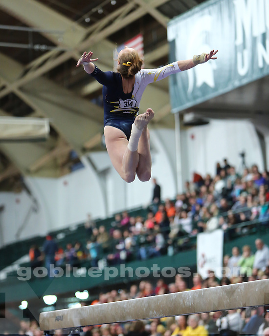 The University of Michigan women's gymnastics team finished in second place (197.225 points) at the Big Ten Championships at Jenison Field House in East Lansing, Mich. on March 23, 2013.