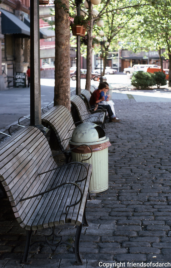 Seattle: Street furniture--Pioneer Square.  Photo '86.