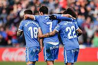 8th February 2020; Coliseum Alfonso Perez, Madrid, Spain; La Liga Football, Club Getafe Club de Futbol versus Valencia; Jaime Mata (Getafe CF)  celebrates his goal which made it 3-0 in the 87th minute