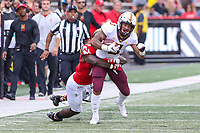 College Park, MD - September 22, 2018:  Minnesota Golden Gophers wide receiver Chris Autman-Bell (3) gets tackled by Maryland Terrapins linebacker Jordan Mosley (18) during the game between Minnesota and Maryland at  Capital One Field at Maryland Stadium in College Park, MD.  (Photo by Elliott Brown/Media Images International)