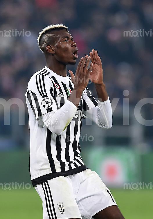 FUSSBALL CHAMPIONS LEAGUE  SAISON 2015/2016 ACHTELFINAL HINSPIEL Juventus Turin - FC Bayern Muenchen             23.02.2016 Paul Pogba (Juventus Turin)