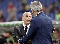Calcio, Serie A: Lazio vs Palermo. Roma, stadio Olimpico, 2 settembre 2012..Palermo coach Giuseppe Sannino shakes hands with Lazio coach Vladimir Petkovic, right, prior to the start of the Italian Serie A football match between Lazio and Palermo at Rome's Olympic stadium, 2 September 2012..UPDATE IMAGES PRESS/Riccardo De Luca