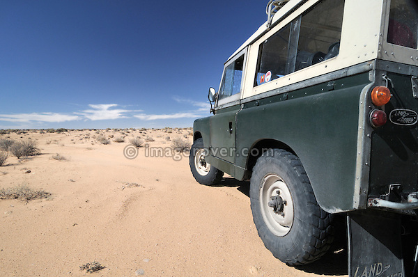 Africa, Tunisia, nr. Douz. Land Rover Series 2a in the desert.  --- No releases available, but releases may not be needed for certain uses. Automotive trademarks are the property of the trademark holder, authorization may be needed for some uses.