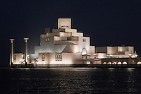 Doha, Qatar.  Museum of Islamic Art,  designed by architect I.M. Pei.  Night Shot.