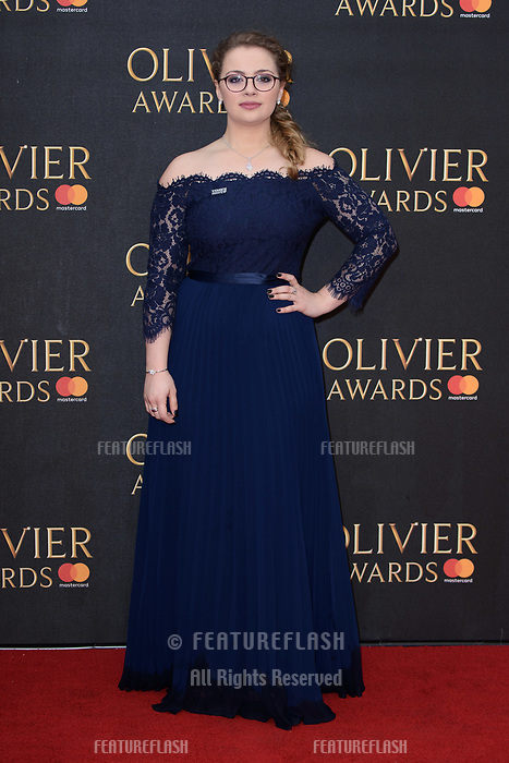 Carrie Hope Fletcher arriving for the Olivier Awards 2018 at the Royal Albert Hall, London, UK. <br /> 08 April  2018<br /> Picture: Steve Vas/Featureflash/SilverHub 0208 004 5359 sales@silverhubmedia.com