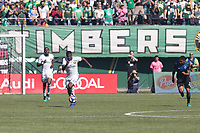 Portland, Oregon - Sunday October 6, 2019: Dairon Asprilla #27 dribbles the ball up the field during a regular season match between Portland Timbers and San Jose Earthquakes at Providence Park in Portland, Oregon.