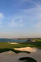 A general view of the 18th green early evening during previews ahead of the first round of the NBO Open played at Al Mouj Golf, Muscat, Sultanate of Oman. <br /> 13/02/2018.<br /> Picture: Golffile | Phil Inglis<br /> <br /> <br /> All photo usage must carry mandatory copyright credit (&copy; Golffile | Phil Inglis)