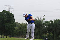 Paul Dunne (Europe) on the 16th during the Friday Foursomes of the Eurasia Cup at Glenmarie Golf and Country Club on the 12th January 2018.<br /> Picture:  Thos Caffrey / www.golffile.ie