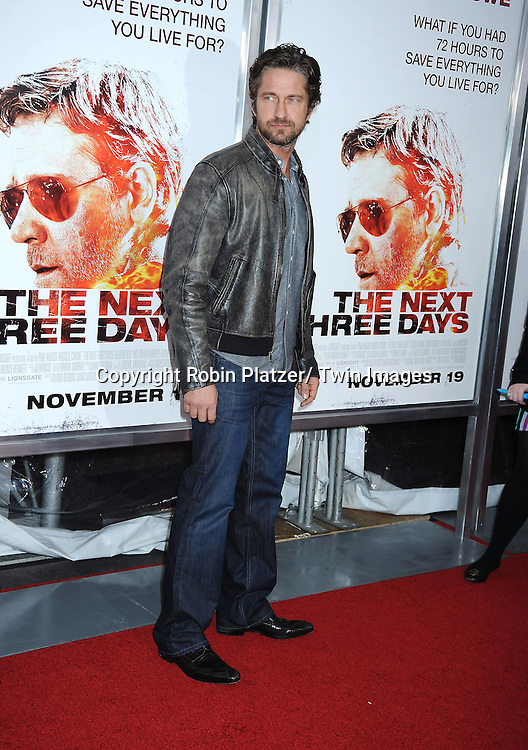 "Gerard Butler attending the New York Special Screening of ""The Next Three Days"" on November 9, 2010 at the Ziegfeld Theatre. The movie stars Russell Crowe, Elizabeth Banks and Olivia Wilde."
