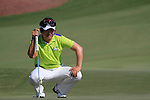 Y.E.Yang lines up his putt on the 8th green during Day 1 of the Dubai World Championship, Earth Course, Jumeirah Golf Estates, Dubai, 25th November 2010..(Picture Eoin Clarke/www.golffile.ie)