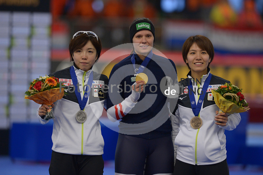 SPEEDSKATING: INZELL: Max Aicher Arena, 08-02-2019, ISU World Single Distances Speed Skating Championships, Podium 500m Ladies, Nao Kodaira (JPN), Vanessa Herzog (AUT), Konami Soga (JPN), ©photo Martin de Jong