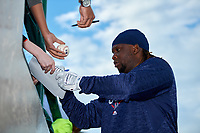 Minnesota Twins designated hitter Miguel Sano (44), on rehab assignment with the Rochester Red Wings, signs autographs before a game against the Pawtucket Red Sox on May 19, 2018 at Frontier Field in Rochester, New York.  Rochester defeated Pawtucket 2-1.  (Mike Janes/Four Seam Images)