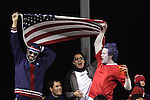 10 February 2006: U.S. fans waive an American flag. The United States Men's National Team defeated Japan 3-2 at SBC Park in San Francisco, California in an International Friendly soccer match.