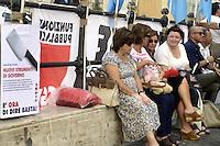 Roma, 7 Agosto 2012.Piazza Montecitorio.I sindacati Cgil e Uil chiamano allo sciopero generale contro il governo e la spending review per il 28 Settembre 2012.
