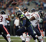 Chicago Bears quarterback Jy Cutler (6) passes against the Seattle Seahawks in a pre-season game at CenturyLink Field in Seattle, Washington on August 12, 2014.  Seattle beat Chicago 34-6. © 2014. Jim Bryant Photo. ALL RIGHTS RESERVED.