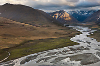 Aerial of the Kongakut River, Arctic National Wildlife Refuge, Brooks Range mountains, Alaska.