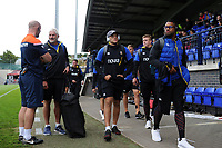 Zach Mercer, Joe Cokanasiga and the rest of the Bath Rugby team arrive. Pre-season friendly match, between Edinburgh Rugby and Bath Rugby on August 17, 2018 at Meggetland Sports Complex in Edinburgh, Scotland. Photo by: Patrick Khachfe / Onside Images