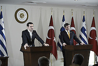 Pictured L-R: Alexis Tsipras and his Turkish counterpart Ahmet Davutoglou Tuesday 08 March 2016<br /> Re: The Prime Ministers of Turkey Ahmet Davutoglu and Greece Alexis Tsipras have met in Smyrna, Turkey to discuss ways to enhance their cooperation as both countries are grappling with an influx of migrants,