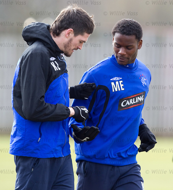 Maurice Edu collects some missiles from Kyle Lafferty ready for an assasination attempt on Boydie