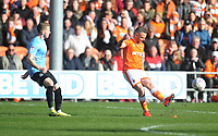 Blackpool's Jay Spearing under pressure from Southend United's Luke Hyam<br /> <br /> Photographer Kevin Barnes/CameraSport<br /> <br /> The EFL Sky Bet League One - Blackpool v Southend United - Saturday 9th March 2019 - Bloomfield Road - Blackpool<br /> <br /> World Copyright © 2019 CameraSport. All rights reserved. 43 Linden Ave. Countesthorpe. Leicester. England. LE8 5PG - Tel: +44 (0) 116 277 4147 - admin@camerasport.com - www.camerasport.com