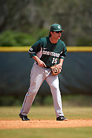 Michigan State Spartans second baseman Kory Young (19) during a game against the Illinois State Redbirds on March 8, 2016 at North Charlotte Regional Park in Port Charlotte, Florida.  Michigan State defeated Illinois State 15-0.  (Mike Janes/Four Seam Images)